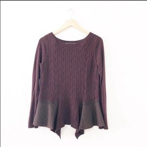 Anthro Knitted Knotted Maroon Knit Peplum Sweater